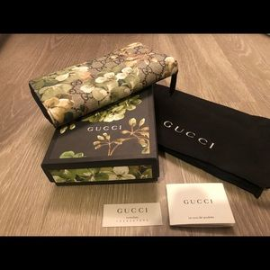 GUCCI Blooms Green Accordion Wallet